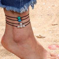 ingrosso braccialetto blu perla bianca-2019 New Bohemian Handmade Woven Leather Wax Rope Anklet per le donne 4 Pz / set Pearl Blue Green White Turquoise Bracelet Anklet regolabile