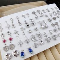 925 perlenohrringe großhandel-Perle Ohrstecker Einstellungen 925 Silber Ohrring Glänzende DIY Perle Ohrringe für Frauen Zirkon Ohrring Geschenk 36 paar / lot