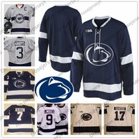 Wholesale Custom Penn State Nittany Lions Ice Hockey Any Number Name Navy Blue White Gray Chase Berger Kevin Kerr Men Youth Jersey