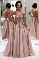 Wholesale red dress resale online - Luxury Modern Evening Dresses Deep V Neck Pearls Appliques A Line Sweep Train Illusion Party Prom Gowns Special Occasion Dress Vestidos