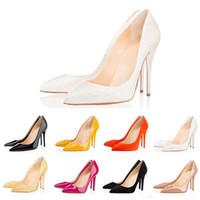 seksi elmas dantel gelinlik toptan satış-Christian Louboutin Lüks tasarımcı kadın elbise ayakkabı kırmızı alt yüksek topuklu 8 cm 10 cm 12 cm Çıplak siyah kırmızı pembe Deri Sivri Toes Elbise ayakkabı Pompaları