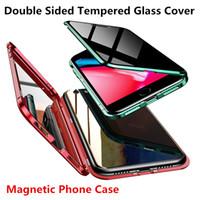 металлические флип-чехлы оптовых-Магнитная адсорбция металла флип чехлы для мобильных телефонов для iPhone 11 Pro Max X 7 8Plus XS MAX XR Case Clear двусторонняя закаленное стекло крышка