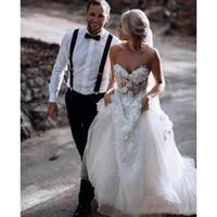 Wholesale bridal sky wedding dresses resale online - Charming Sweetheart A Line Wedding dresses Sexy Illusion d Flower Appliqued Back Zipper Beach Wedding Bridal Gown Cheap