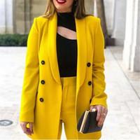 ingrosso giacca gialla delle signore-Giacche da donna 2019 Primavera Autunno Cappotti Giacca da lavoro formale da donna Fashion Leisure Slim giacca manica lunga giacca gialla Suit