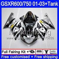 ingrosso k1 gsxr scollature in argento nere-Argento nero caldo + serbatoio per SUZUKI GSX-R750 GSXR 750 600 K1 GSXR600 01 02 03 294HM.6 GSX R600 R750 GSXR-600 GSXR750 2001 2002 2003 Carene
