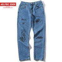 ingrosso modello jeans baggy-Aelfric Eden Urban Jeans Uomo Primavera Estate Casual Button Fly Pantaloni Creative Pattern Stampa Denim Baggy Joggers Pantaloni Hip Hop