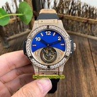 relojes automáticos negro big bang al por mayor-La versión superior del Big Bang 345.PL.5190.LR.0901 True Blue Tourbillon Esqueleto Dial Diamond Bisel mecánico automático del reloj para hombre correa de caucho Negro