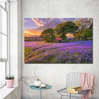 Wholesale oil painting lavender wall art resale online - Sunset Lavender Flower Fields Poster Canvas Painting Print Living Room Home Decor Modern Wall Art Oil Painting Pictures Artwork