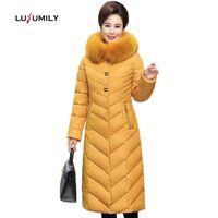 artı boyutu parkas toptan satış-Lusumily Yeni Kış Coat Kadınlar X-Uzun Plus Size 5XL Kalın Kürk Yaka Kış Aşağı Ceket Kadınlar Uzun Parkas Pamuk Kapşonlu OuterweaMX190907