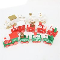 Wholesale bear christmas ornaments for sale - Group buy Christmas Train Painted Wood Christmas Decoration For Home With Santa Bear Xmas Kid Toys Gift Ornament Navidad New Year Gift JK1910