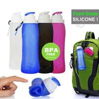 складные пластиковые бутылки с водой оптовых-Пищевой 500 МЛ Творческий Складной Складной Силиконовый Пить Спорт Бутылка Воды Отдых На Природе Путешествия Пластиковая Бутылка Велосипеда