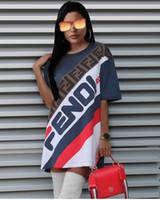 Wholesale colors dresses online - Women Casual Tshirt Dress Summer Loose Letters FF Printed Blue Striped Colors Patchwork Dress