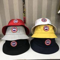 Wholesale black military hats for men resale online - Canada Designer Leather Bucket Hat For Mens Womens Foldable Fishing Caps Black Fisherman Beach Sun Visor Sale Folding Man Bow