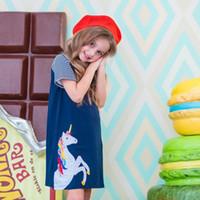 ropa de fiesta de diseñador al por mayor-Los niños del diseñador vestido de niña de verano ropa de niñas con unicornio Animales Apliques partido del niño vestido de estilo americano europeo de la niña de ropa