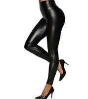 sexy pantalones brillantes negros al por mayor-Indumentaria femenina elástico de imitación de cuero de las polainas Las muchachas grandes del tamaño extra grande de talle alto atractivo medias brillantes de la PU de los pantalones flacos negro S-5XL