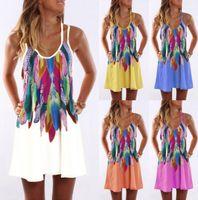 Wholesale colors dresses online - Strap Sleeveless Dress Colors Boho Style Printed Floral Bandage Party Club Dresses Women T shirt Dress LJJO6828