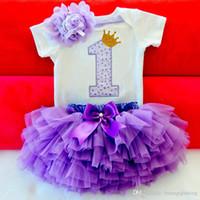 mavi kıyafetler toptan satış-Bebek Yaz Kız Elbise İlk 1st Doğum Günü Pastası Smash Kıyafetler Giyim 3 adet Setleri Beyaz Romper Tutu Etek Bandı bebek Kız Parti Suits