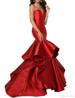 New Designer Mermaid satin Prom Dresses lace-up Spaghetti Ruffles Sweep Train Evening Gowns Pageant Dress Formal