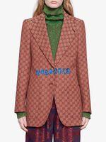 chaquetas abrigos de moda de las niñas al por mayor-altas mujeres end girls lona blazer en todo entrelazado carta pico solapa sola prendas de vestir exteriores de lujo de la moda abrigo de manga larga de pecho