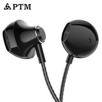 ingrosso mela cablata-PTM D31 Bass Earphone 3.5mm Wired Sport Cuffie con microfono per Apple Iphone Xiaomi Samsung Ear Phones MP3 Mp4