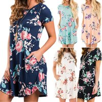 Wholesale woman white dress knee length for sale - Group buy Women Irregular Cotton Printed Dress Lady Summer Casual Dresses Girl Fashion Sexy Floral Clothing colors LLA462