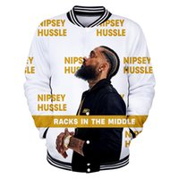 sein achat en gros de-R.I.P Hiphop Baseball Vestes Hommes nipsey hussle Rap Simple Manteaux Manteaux Sport Casual Jacket
