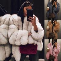 xl teddies al por mayor-Mujeres abrigo de piel sintética streetwear otoño invierno cálido felpa abrigo de peluche de lujo de piel falsa chaqueta de imitación de alta calidad