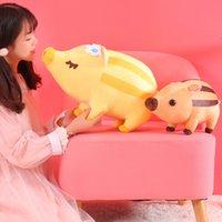 ingrosso bambino gioca animali selvatici-40 / 60cm Kawaii Striped Wild Boar Peluche Piggy Giocattolo farcito Morbido carino Lying Animal Maiale Bambole Home Decor Bambini Baby Regalo di compleanno