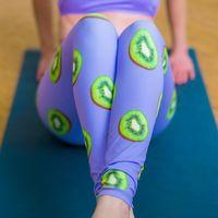 arte de leggastes impressos venda por atacado-Kiwi print yoga pants art fruit print cintura alta leggings esportivas skinny stretch workout gym leggings training pants women sports