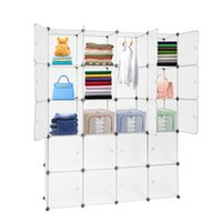 Wholesale shoes cabinets for sale - Group buy 20 Cube Organizer Stackable Plastic Cube Storage Shelves Design Multifunctional Modular Closet Cabinet with Hanging Rod White