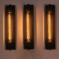 linterna led lámpara de interior al aire libre al por mayor-Corredor Lámpara Vintage Lámpara de pared E27 110-220V LED Luz industrial Linterna interior Luz Retro con bombilla LED de tungsteno
