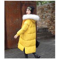 grandes abrigos de pelo al por mayor-Chaquetas de invierno Chica de la escuela secundaria Párrafo largo Incluso gorra Exceder Big Hair Collar Down Loose Coat T190830