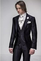 Wholesale gray wool vest resale online - Brand New Shinny Black Groom Tuxedos Peak Lapel Mens Wedding Tuxedos Fashion Man Jacket Blazer Piece Suit Jacket Pants Vest Tie