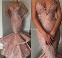 Wholesale long gold occasion dresses for sale - Graceful Blush Lace Mermaid Prom Dresses Sweet Heart Crystal Beads Tiered Long Formal Evening Party Gowns Special Occasion Dress