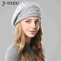 masque de matériau achat en gros de-2019 hiver chapeau chaud filles masque chapeaux tricotés pour les femmes beanie chapeaux Double couche capuchon de matériau de cheveux de lapin