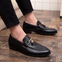 zapatos de calzado elegante al por mayor-Zapatos de borla de cuero de los hombres formales italianos Vestido de piel de pez serpiente Calzado de oficina Marca de lujo Moda Zapatos Oxford elegantes para hombres