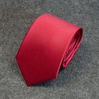 Wholesale neck tie 8cm for sale - Tie men s formal business professional students jujube red solid color Korean version of the narrow tide groom wedding annual meeting cm