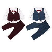 roupa de colete de bebê venda por atacado-4 pcs Cavalheiro Kid Baby Boy Roupa Formal Ternos Colete + Gravata + Camisa de Impressão + Calças Outfit Roupas Terno Conjunto