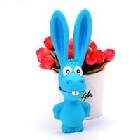 lateks evcil hayvan oyuncakları toptan satış-Köpekler Squeaker UU 1SJ Eğitim Oyuncak Tavşan Pet Lateks Molar Diş Bakımı Oyuncak Evcil Haberler Sevimli Cartoon 4 Chew