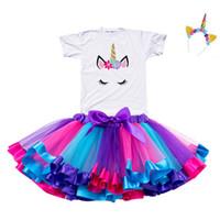 yürümeye başlayan doğum günü kıyafetleri toptan satış-2019 Kız Unicorn Tutu Elbise Gökkuşağı Prenses Kızlar Parti Elbise Toddler Bebek 1-8 Yıl Doğum Günü Kıyafetler Çocuk Çocuk Giysileri