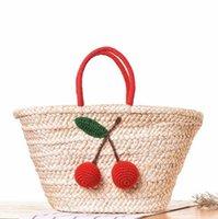 ingrosso marche di tessuti per capelli-fabbrica vendite dipartimento borsa tessuta a mano foresta donna borsa semplice ciliegia capelli palla portatile borsa da spiaggia marca di svago vacanza borse di paglia