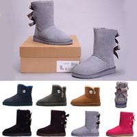 blaue stiefel größe 41 großhandel-New WGG Frauen Australia Classic hohe Stiefel Frauen Mädchen Schnee Winter Stiefel Schuhe Fuchsia schwarz blau rot Lederschuhe Größe 36-41