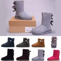 botas azules talla 41 al por mayor-Nuevo WGG Botas altas clásicas de Australia para mujer Botas de invierno para niñas y nieve zapatos fucsia negro azul rojo zapatos de cuero talla 36-41