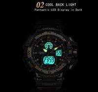 Wholesale cool mens digital watch resale online - SMAEL ARMY sport watches Set mens double cool Male waterproof wristclock elógio masculino stopwatch analog LED SPORT
