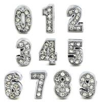 números de diapositivas de diamantes de imitación al por mayor-20pcs 8mm Número Rhinestone completo Slide 0-9 Número DIY Slide Charm fit pulsera / pulsera LSSL019