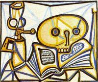 pintura al óleo libro lienzo al por mayor-Pablo Picasso Pintura al óleo clásica de la grúa Libro Y Lámpara de aceite 100% hecho a mano por el pintor experimentado lienzo en blanco Picasso170