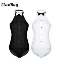 dicas de colar de camisa venda por atacado-TiaoBug Mulheres One piece-mangas Halter Wing Tip Collar Backless Camisa de Smoking Bodysuit com Bow Tie Ladies Partido Sexy Jumpsuit
