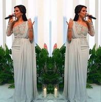 kurzes rotes glitterkleid großhandel-Arabisch Eine Schulter Chiffon Lange Abendkleider 2019 Spitze Applique Mantel Geraffte Sweep Zug Formal Party Prom Wear Kleid