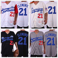Wholesale clemente baseball jersey black resale online - Roberto Clemente Santurce Crabbers Jersey Baseball Home Away Cream Black Grey White Button Down
