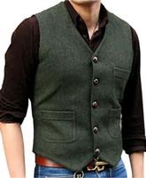 tweed suit men venda por atacado-Terno dos homens novos Vest V Neck Lã Herringbone Tweed Casual Colete Formal Negócios Vest Groomsman Para Café / verde / preto / Brown